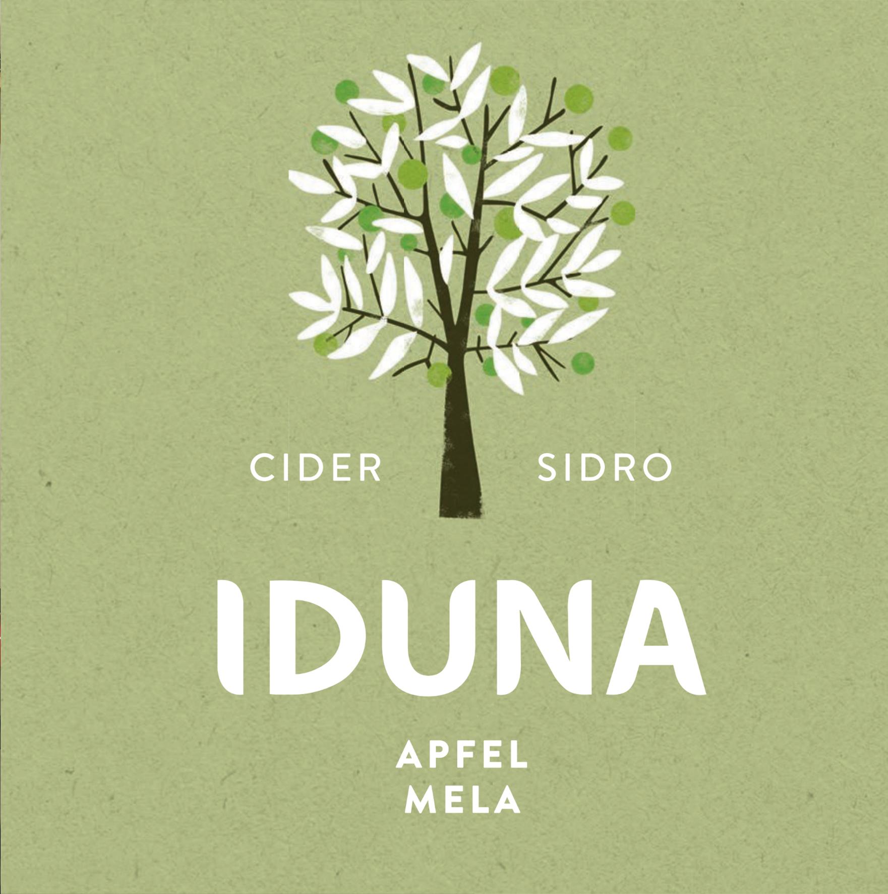 Etikette von Iduna Cider mit Apfel.