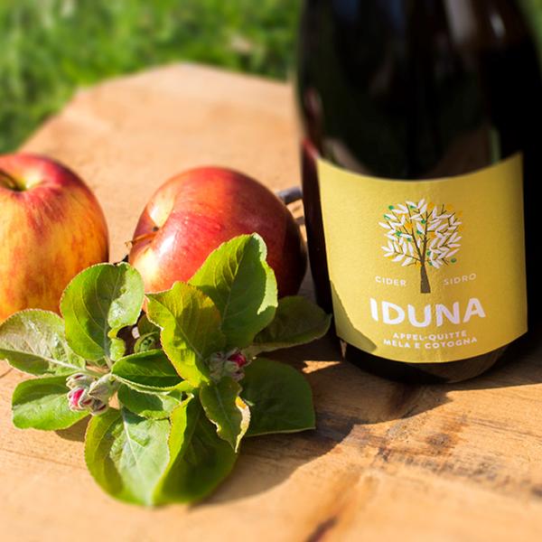 Eine Flasche Iduna Cider mit Quitte neben Äpfeln.