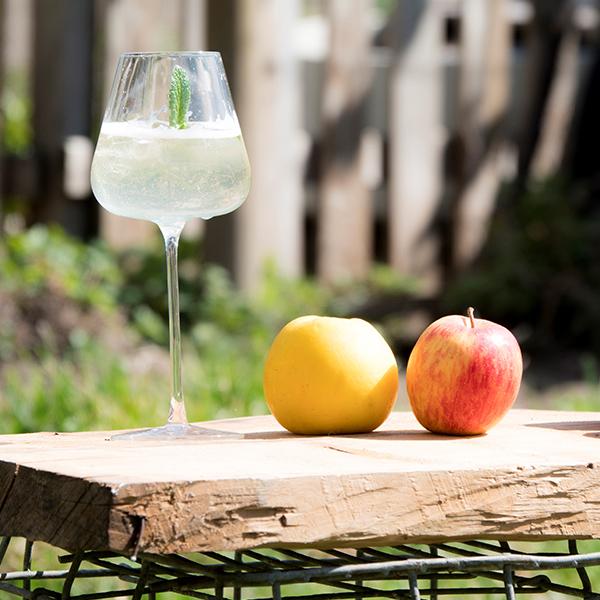 Ein Glas Iduna Cider mit Äpfel.
