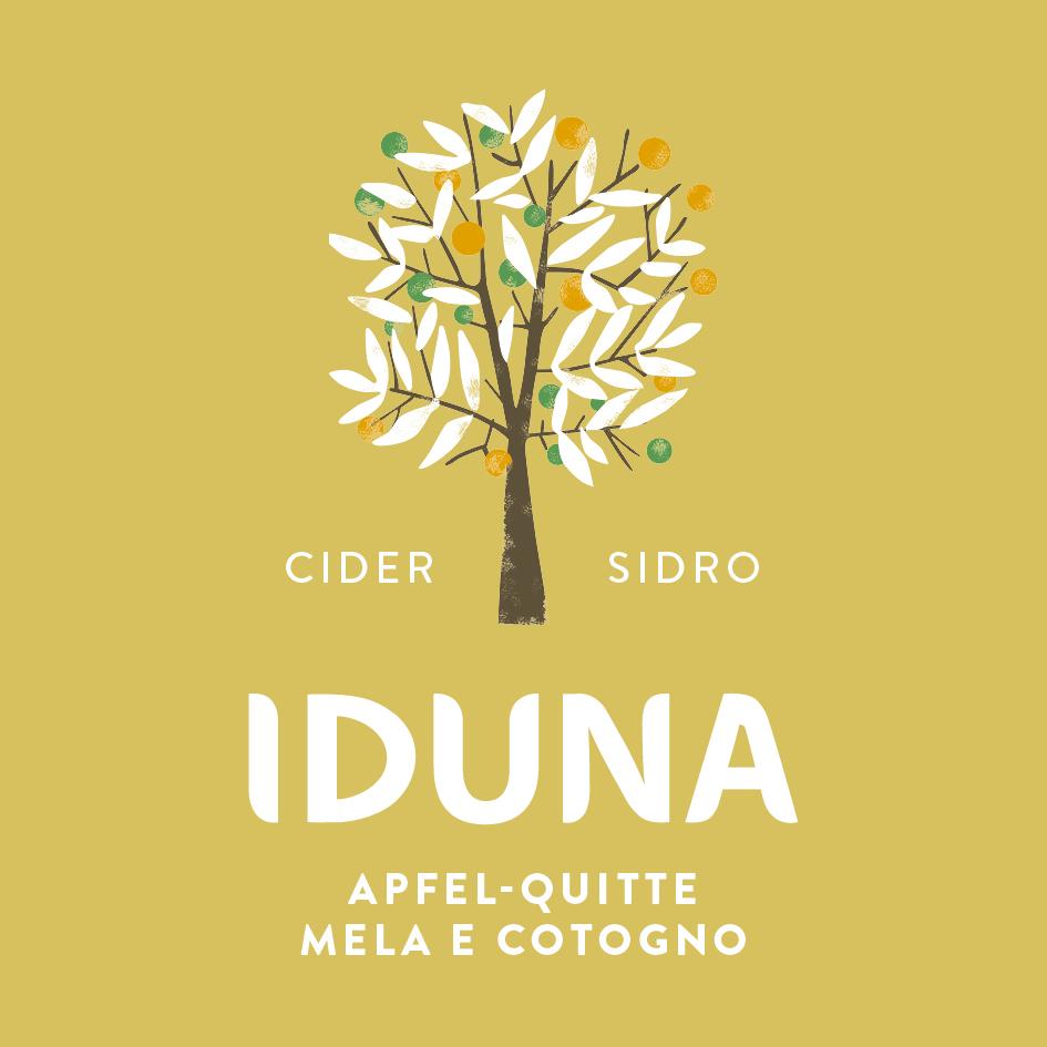 Etikette von Iduna Cider mit Apfel und Quitte.